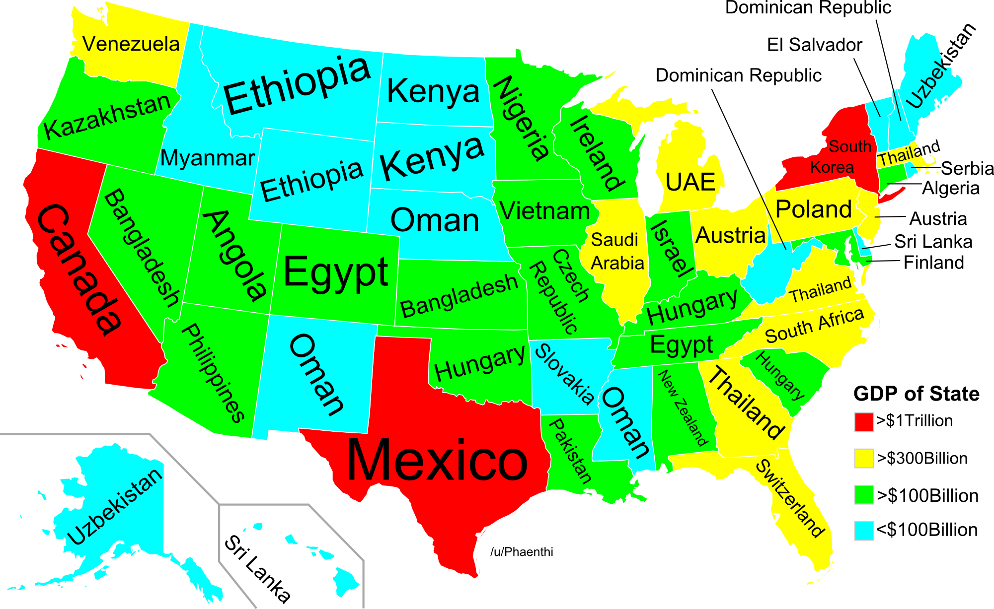 This Map Shows Which American States are Richer Than Entire Countries