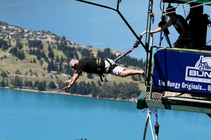 69-year-old Dan Pena bungee jumping like a badass