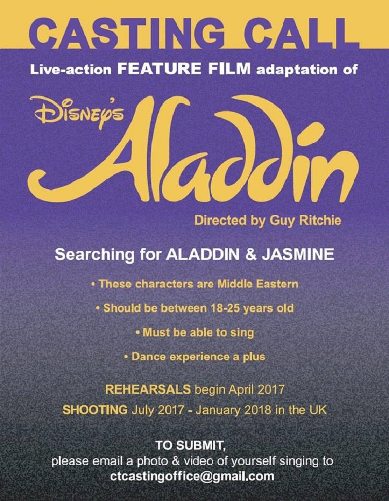 Aladdin: Open casting call for lead roles and production dates revealed