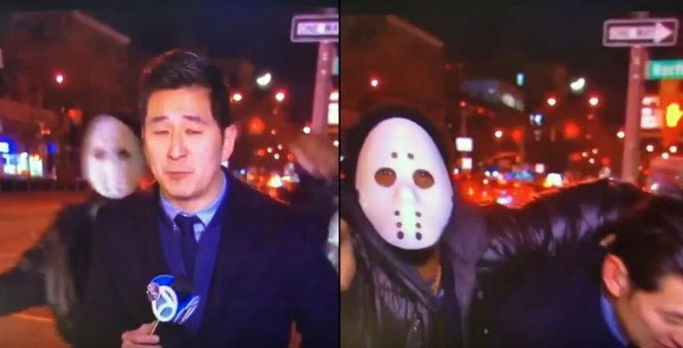 Masked Man Attacks Korean-American Reporter on Live TV