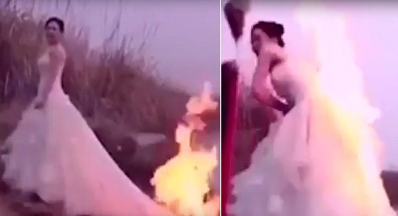 chinese bride sets wedding dress on fire in epic photoshoot
