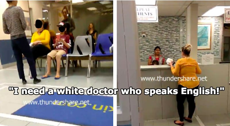 Canadian woman demanding to see a white doctor