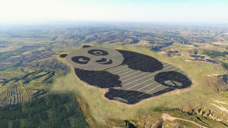 China Built a 250-Acre Solar Farm Shaped like a Giant Panda