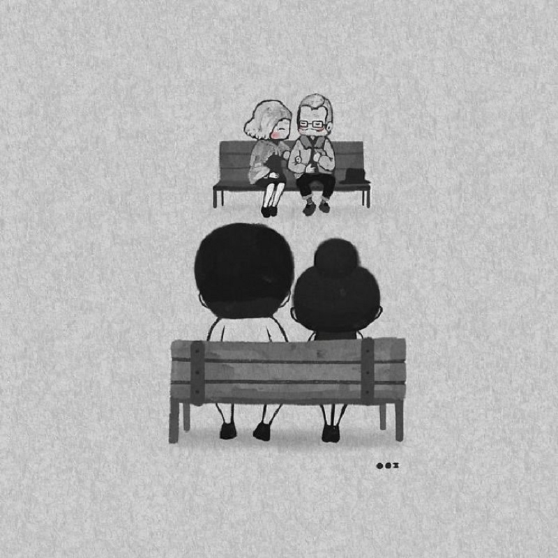 south korean illustrator captures romance of young couple