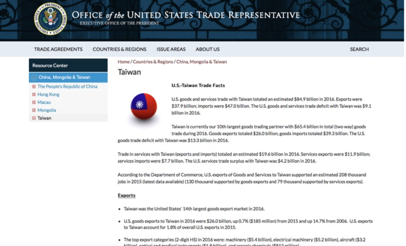 u.s. government takes down flag of taiwan