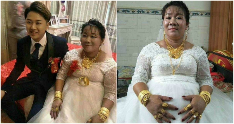 chinese wedding of 23-year-old man and 38-year-old woman