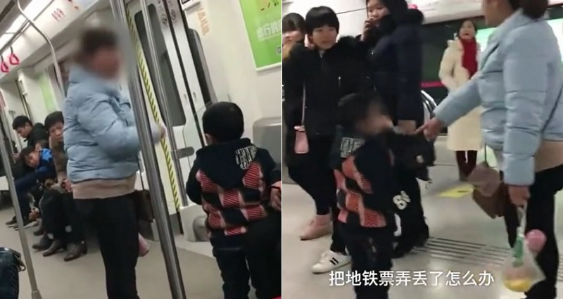 chinese mom hitting her son on train after losing ticket