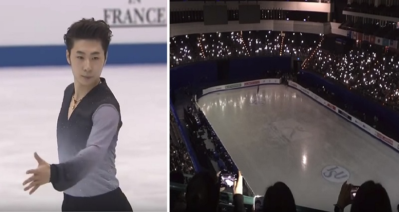 fans help taiwanese ice skaters with smartphone lights
