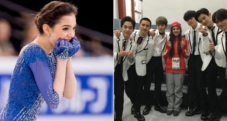 Evgenia Medvedeva Finally Meets K-Pop Group EXO at the Winter Olympics