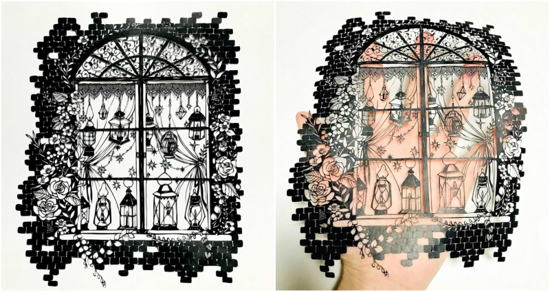 the traditional art of Japanese paper-cutting also known as kirie