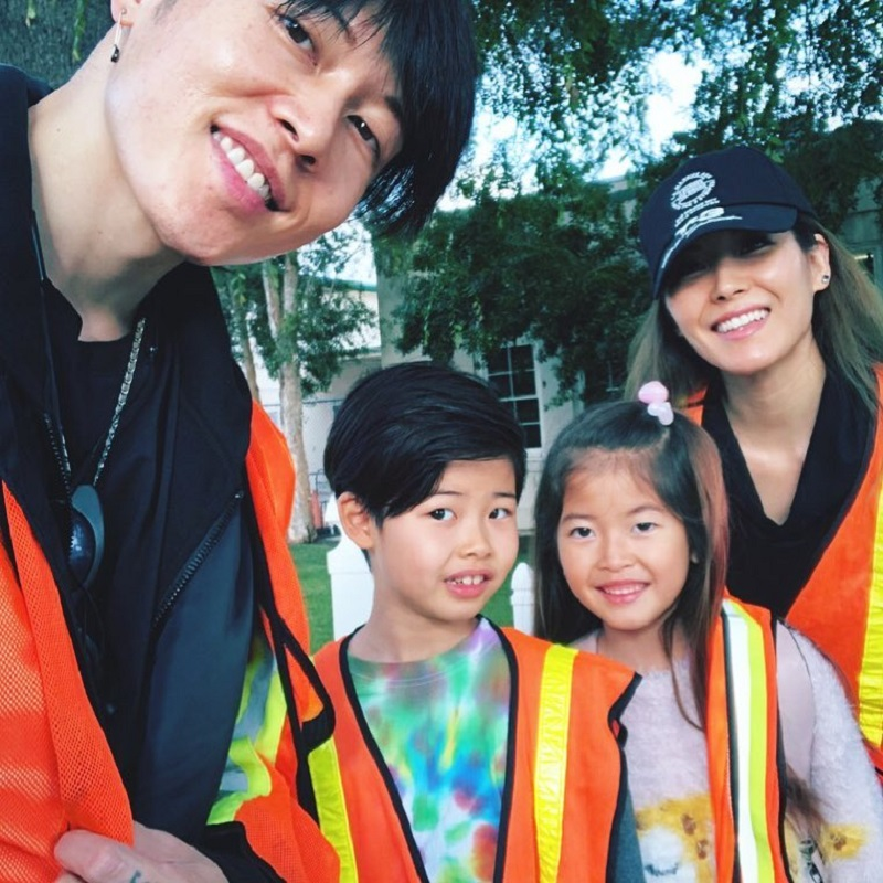 Japanese Rockstar Miyavi Doing Morning School Patrol With His Family
