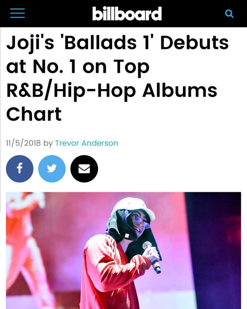 Joji Becomes the First Asian-Born Artist to Top Billboard R&B/Hip