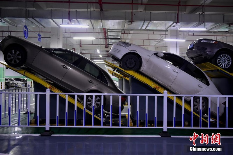 Chongqing, a major city in southwest China, just opened its first inclined parking lot as an experiment to save space for more cars.