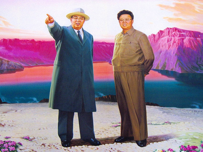 """af3dc6a6b Painting of Kim Il Sung and Kim Jong Il at the crater lake of Baekdusan. """""""