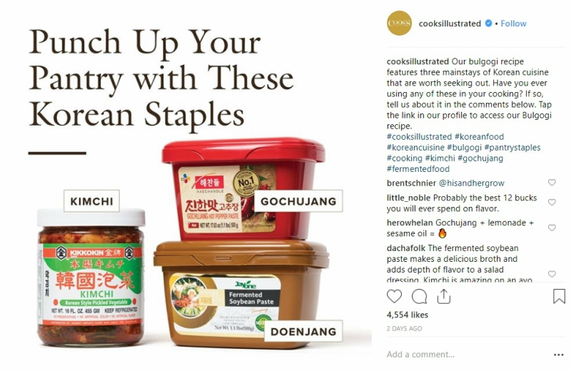 """Cook's Illustrated has come under fire after an Instagram post showing what supposedly are """"staples"""" in the Korean dish,bulgogi and a Japanese brand for kimchi."""
