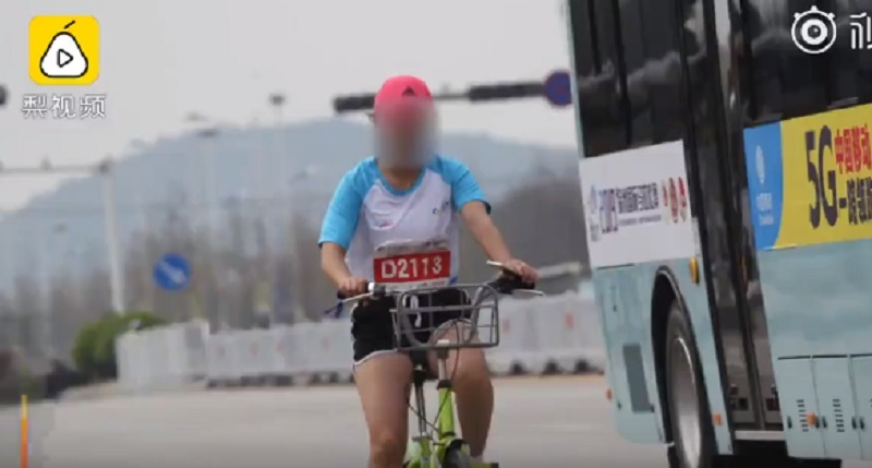 A Chinese woman was recently disqualified from a marathon after being caught riding a bicycle during the event last week.