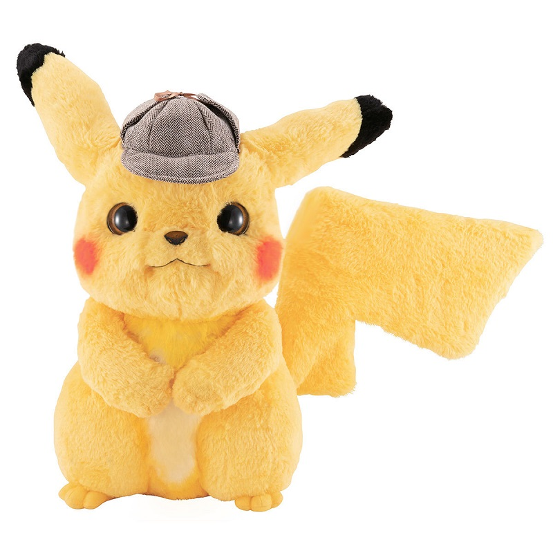 """A new life-sized plushie of """"Detective Pikachu"""" with adjustable arms, legs, ears, and tails is now available for order online."""