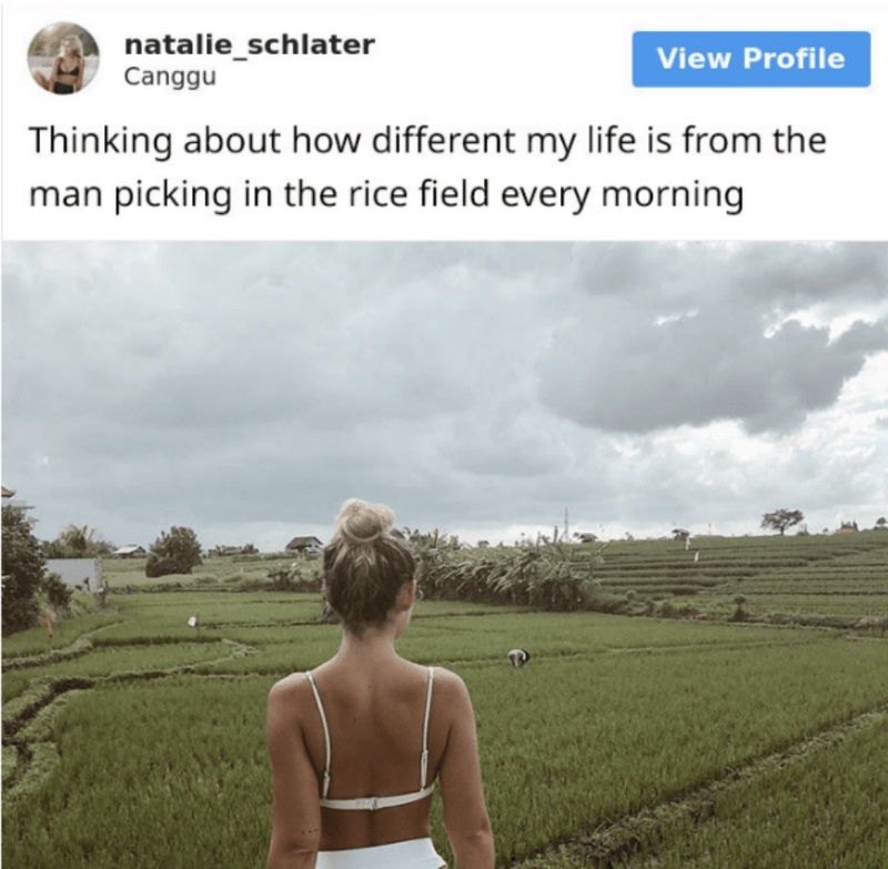 A Swedish woman generated so much backlash over a post in which she compared her life to that of a Bali rice farmer that she ended up deleting her Instagram account.