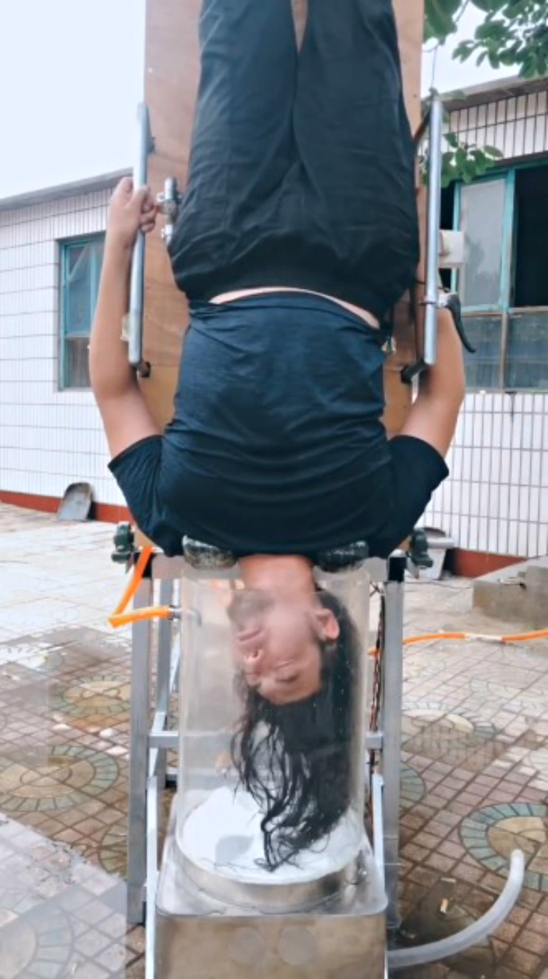 An inventor in China has gone viral on social media after creating a hair washing machine that forces users to go upside down if they actually want to see it work.