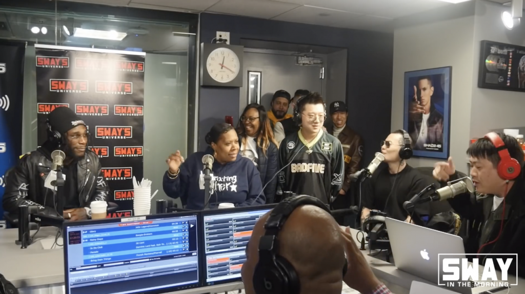 "A Chinese rap group called Number 4 guest starring on the radio show ""Sway in the Morning"" was quickly called out by the hosts of the show for their use of the n-word in a freestyle rap."