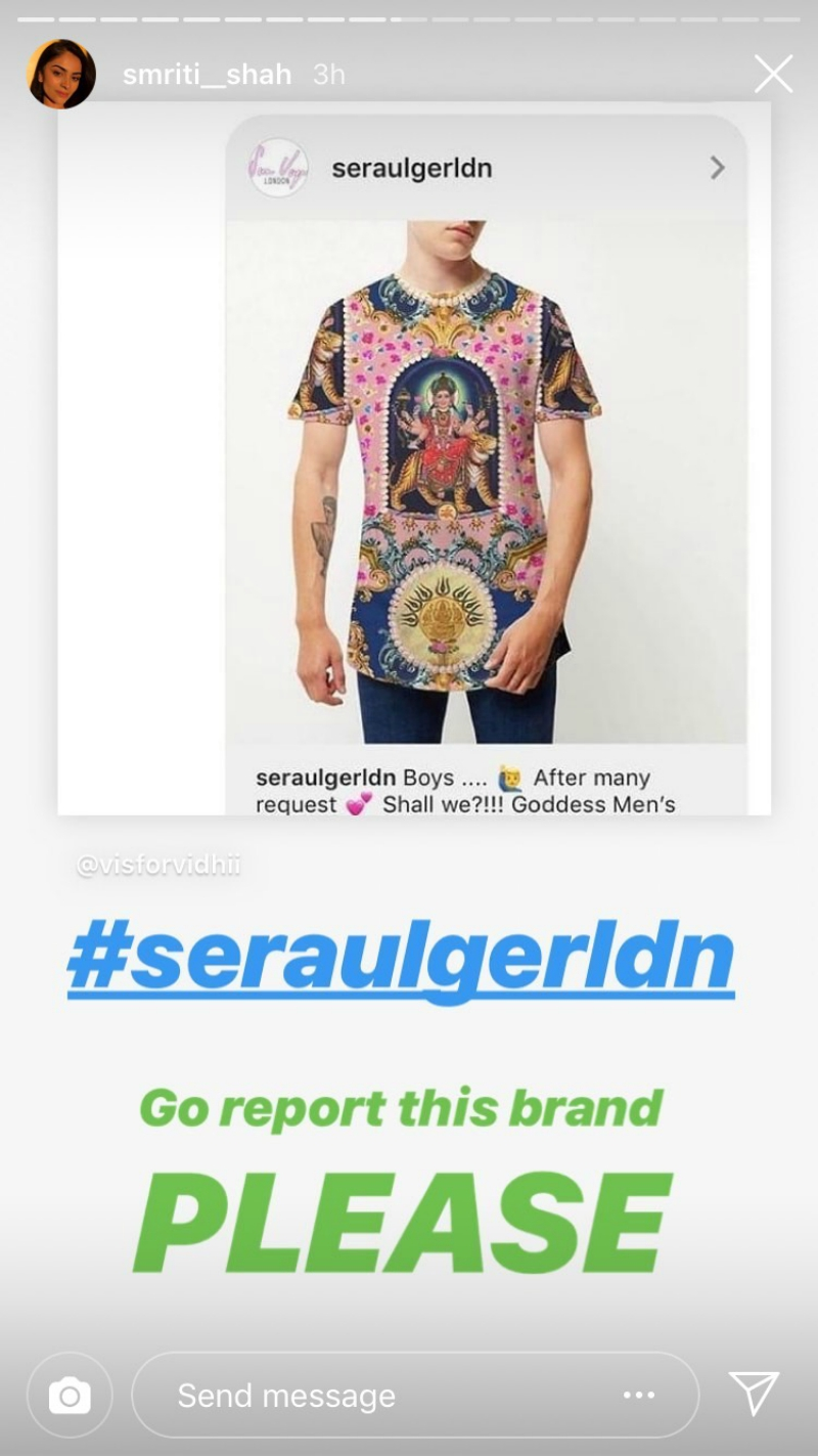 """Sera Ulger, based in Dalston, East London released a swimsuit, jacket, and a pair of trousers containing the image in January, apologizing later for offending the Hindu community """"without meaning to."""""""
