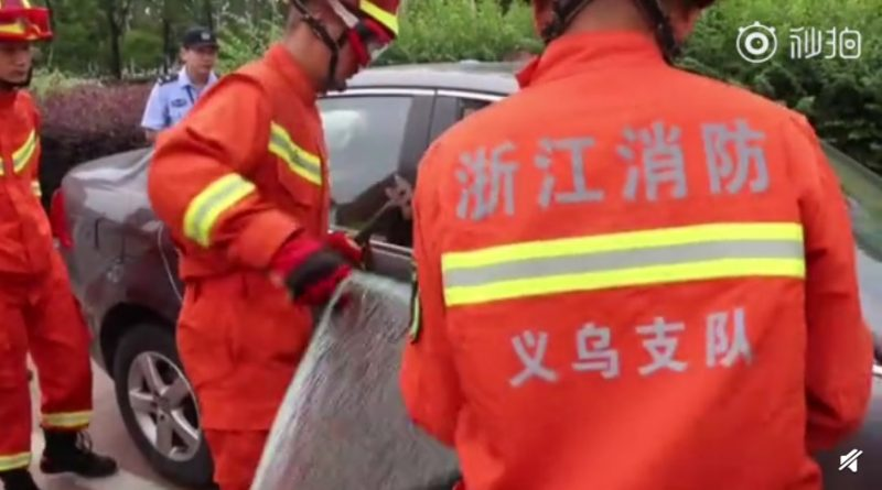 A woman in eastern China is being slammed on social media after trying to stop firefighters from breaking her car window to save her two-year-old son trapped inside the vehicle.