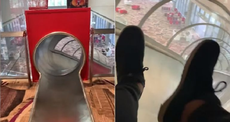 Thrilled Passenger Discovers He Can Slide to Reach His Gate