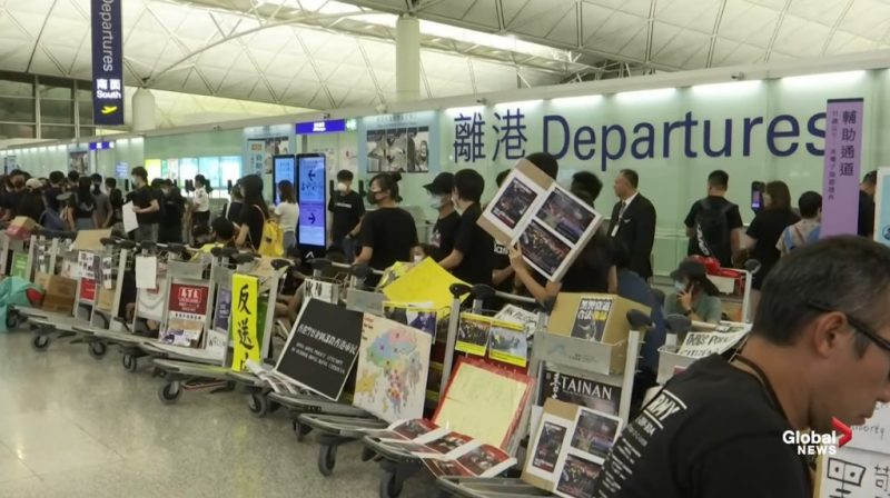 Travelers hoping to leave Hong Kong remained stuck in the city as departure flights were canceled for a second consecutive day amid escalating protests against the government.