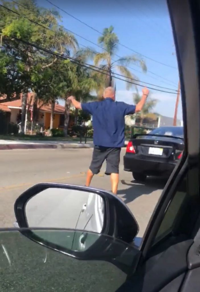 On the morning of July 31, in Upland, California, an Asian man was verbally attacked and spat on by an unidentified White man during a road rage incident.