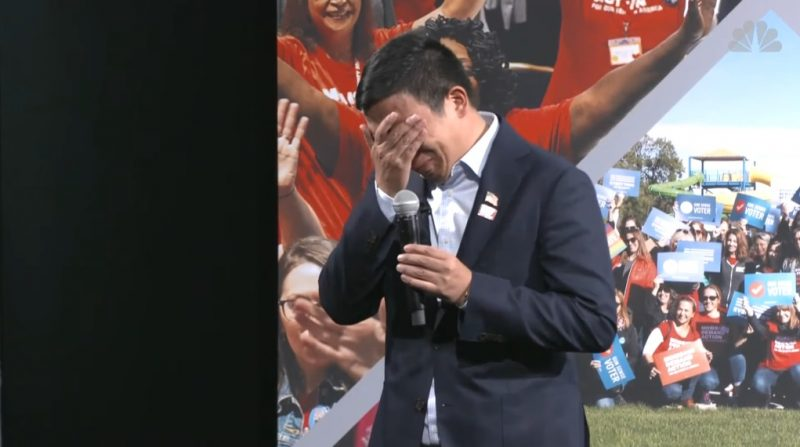 Andrew Yang broke down in tears at a gun laws forum in Iowa on Saturday while addressing a woman who lost her daughter to a stray bullet.