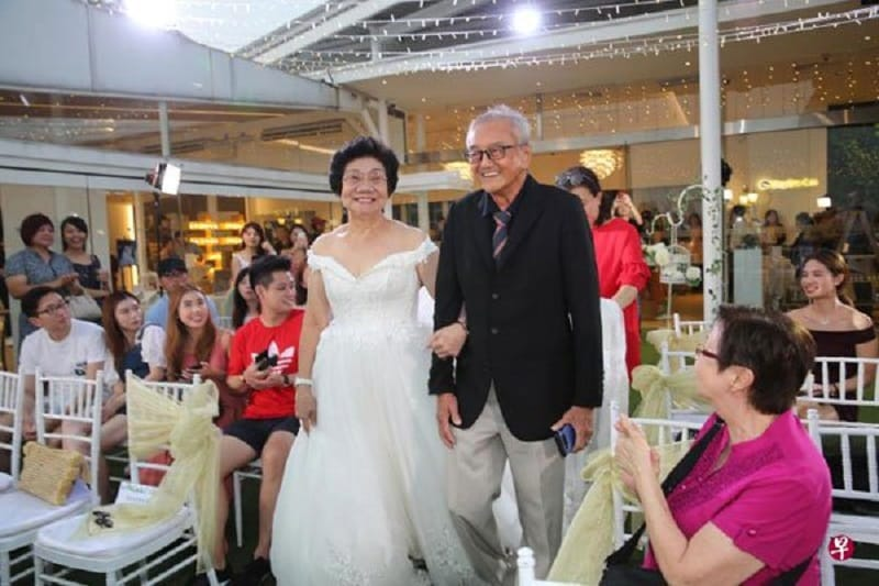 A 23-year-old woman from Singapore recently surprised her grandparents with a wedding ceremony for their 54th anniversary.