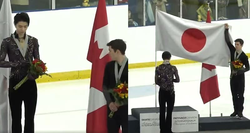 Figure Skater Unfurling Flag for Japanese Olympic Champ is the Most Canadian Thing Ever