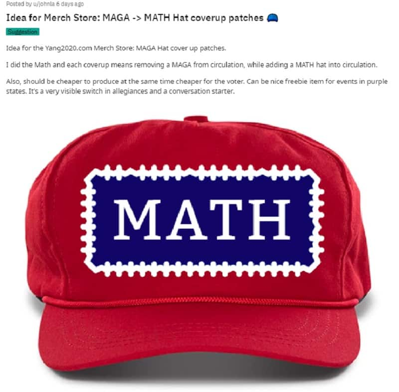 """In 2016, the """"Make America Great Again"""" slogan and the merchandise that bore it became a cultural phenomenon. Now, some former Trump supporters are ditching their MAGA hats for Andrew Yang's MATH hats."""