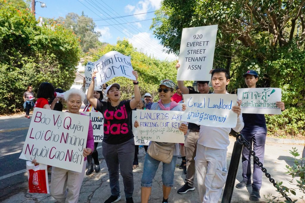 Tenants at Everett Street, many of whom are low-income immigrants and refugees from Thailand, Cambodia, and Vietnam, received a notice in late July from their landlords Robert and Rosa Chow, stating that they had only 60 days to leave.