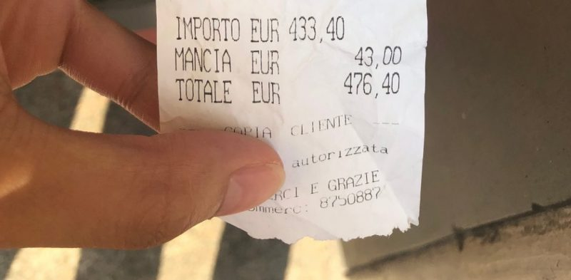A restaurant in Rome is being lambasted on the internet after slapping a pair of Japanese diners with a 430-euro ($471) bill for a relatively simple meal they had early last month.
