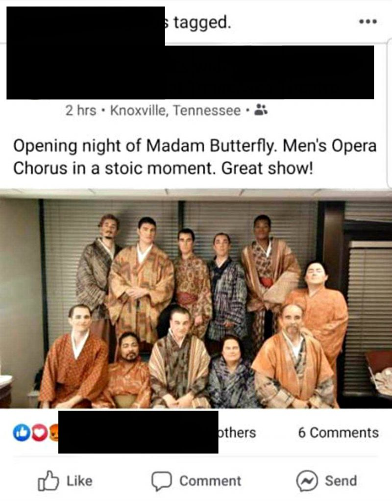"An opera company in Tennessee has been accused of racism after having what appears to be an entire cast for a production of ""Madame Butterfly"" in yellowface."
