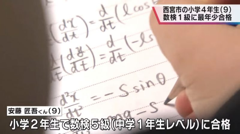 A 9-year-old boy has become the youngest person to pass a university-level mathematics test in Japan.
