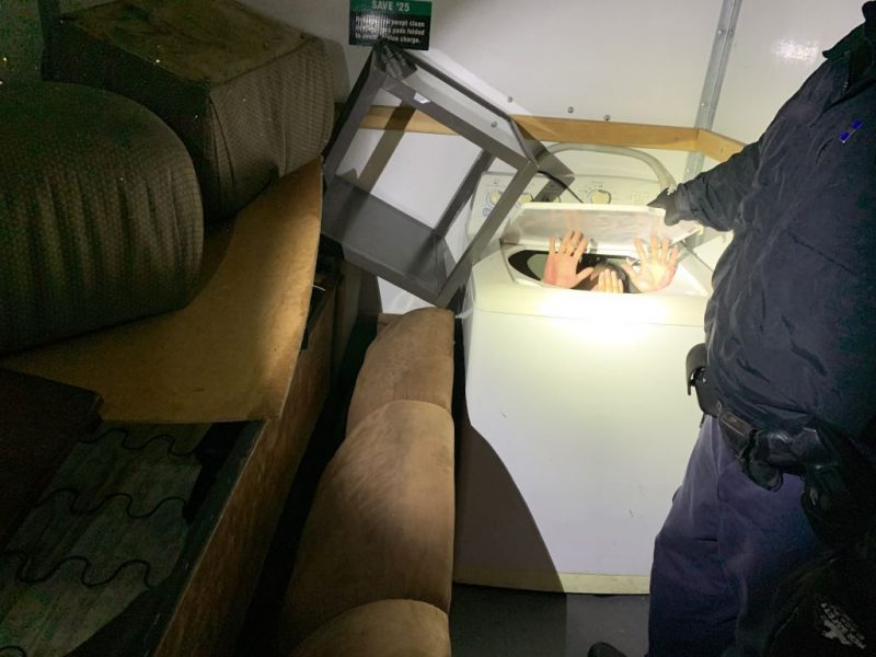 Eleven Chinese nationals were found hiding in appliances and various pieces of furniture while attempting to enter the U.S. from Mexico to California.