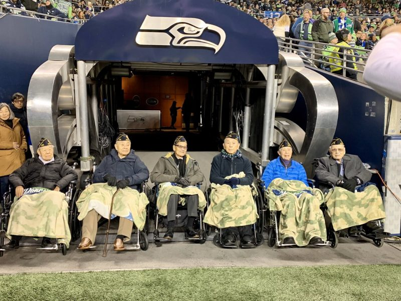 Six Chinese American World War II veterans were honored by the Seattle Seahawks in a game against the Minnesota Vikings (37-30) on Dec. 2.