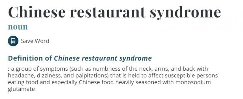 """""""Chinese restaurant syndrome"""" is still on Merriam-Webster's Dictionary -- and many Asians are livid about it."""