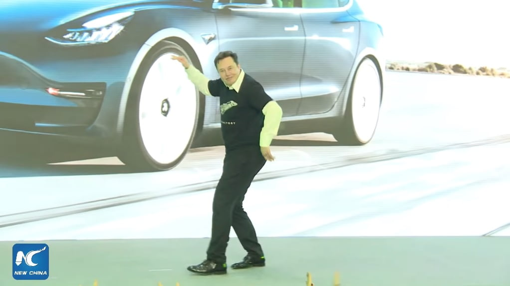 Elon Musk sent a large audience — and later the greater internet — into a frenzy when he tried to pull a John Travolta during a Tesla presentation in Shanghai on Tuesday.