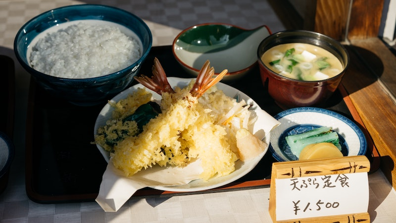 Replica of a Japanese meal, shrimp tempera, rice, miso soup