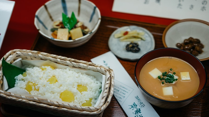 Replica of a Japanese meal, side dishes, rice, miso soup