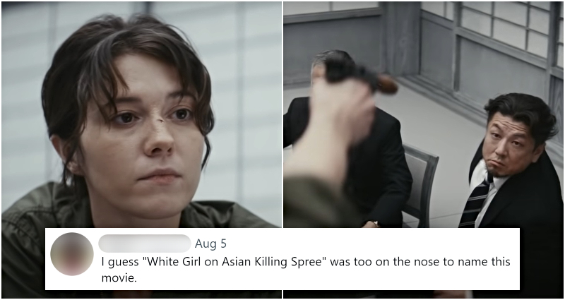 Protagonist aiming at Asian guy