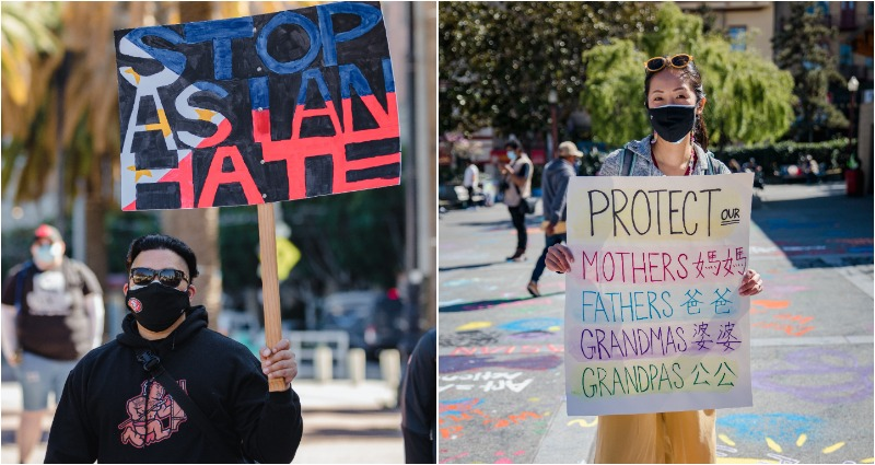 Stop AAPI Hate signs from demonstrations