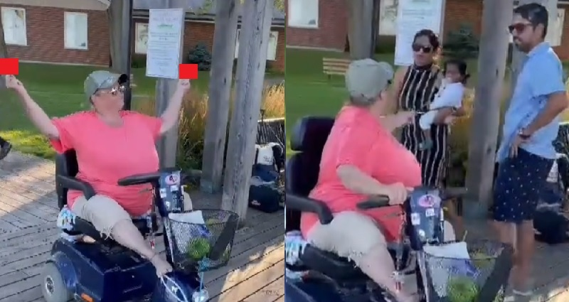 Scooter riding woman being racist